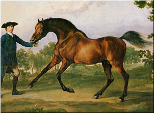 old-fashioned painting of a  horse and rider